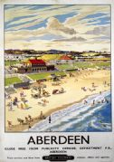 Aberdeen Bay, Scotland. British Railway (ScR) Vintage Travel Poster by T Train